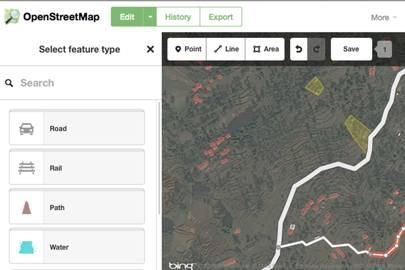 OpenStreetMaps' editing tools