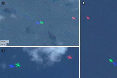 """Planes spotted mid air on BlackBridge satellite images by volunteers: (1) March 18th 08°17'04""""N, 094°56'46""""E. (2) March 19th 06°28'17""""N, 096°53'24""""E. (3) March 20th 11°37'39""""N, 094°40'09.""""E"""