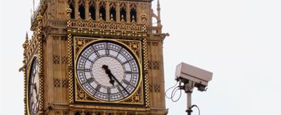 Big Ben and CCTV camera, pictured from Victoria Embankment, London
