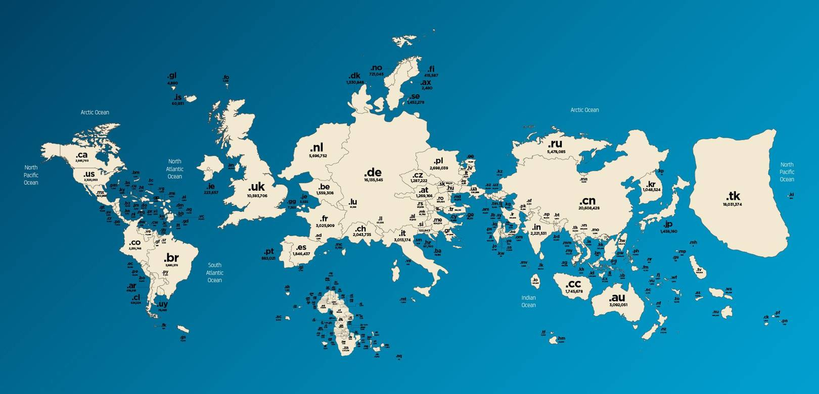Map Of World With Names.Map Of Domain Names Flips The World On Its Head Wired Uk