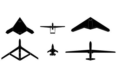 Left to right (top): X47C (US), Heron (Israel), Sentinel (US)  -- Bottom: Soaring Dragon (Chinese), Barracuda (France, Germany), Global Hawk (US)