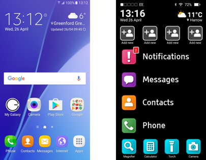 The Zone V software (right) simplifies the traditional Android interface (left)