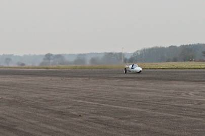 A three-wheeled testing version of Jet Reaction at Elvington Airfield in Yorkshire, England