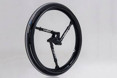 "SoftWheel makes rides smoother using ""symmetric and selective technology,"" that employs three compression cylinders to absorb shocks within the wheel before they're transferred to rider."