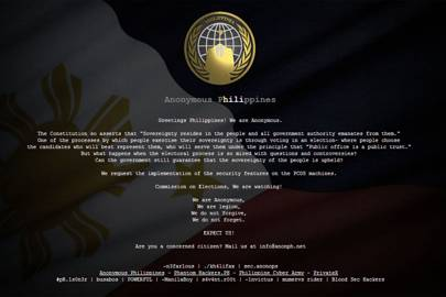 The Comolec website was defaced by Anonymous Philippines on 27 March