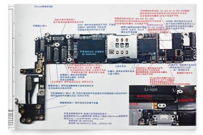 A copy of the troubleshooting guide to the iPhone 6 motherboard. Components and connectors are labelled with their function, as well as the symptoms if any given component or connection is faulty