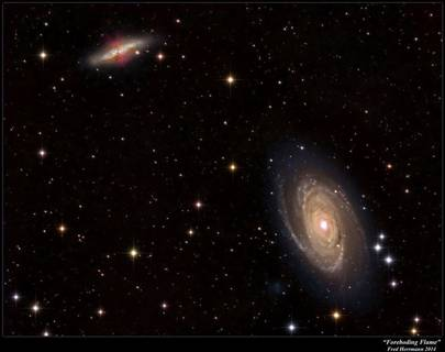 This illustration shows a pair of nearby galaxies where 'intergalactic transfer' may be happening