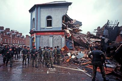 A Loyalist bar, blown up by the IRA during The Troubles, Northern Ireland